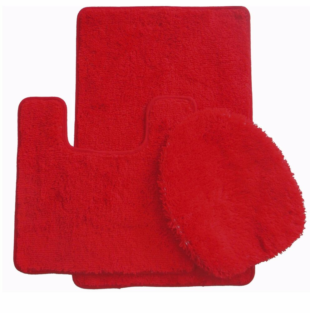 3 piece luxury acrylic bath mat set made with 100 polypropylene red ebay. Black Bedroom Furniture Sets. Home Design Ideas
