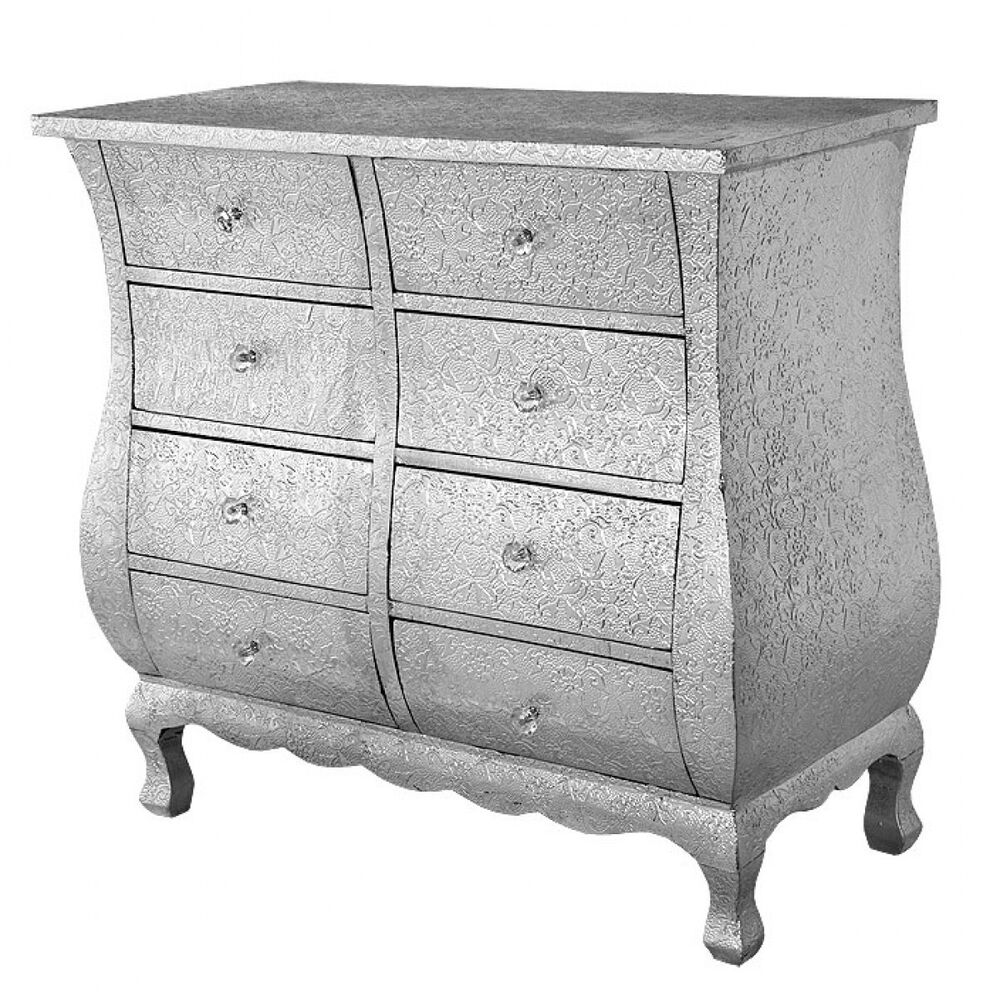 Silver embossed metal drawer chest of drawers ebay
