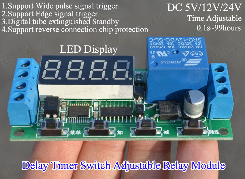 Digital Led Display Delay Timer Switch Adjustable Time