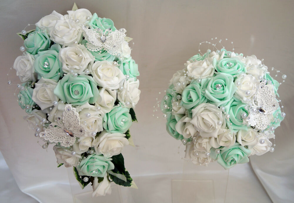 Brides,Bridesmaids,Wedding Bouquet Flowers Mint and White | eBay