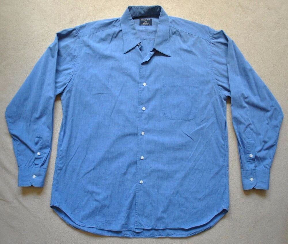 gitman brothers mens blue chambray button up dress shirt