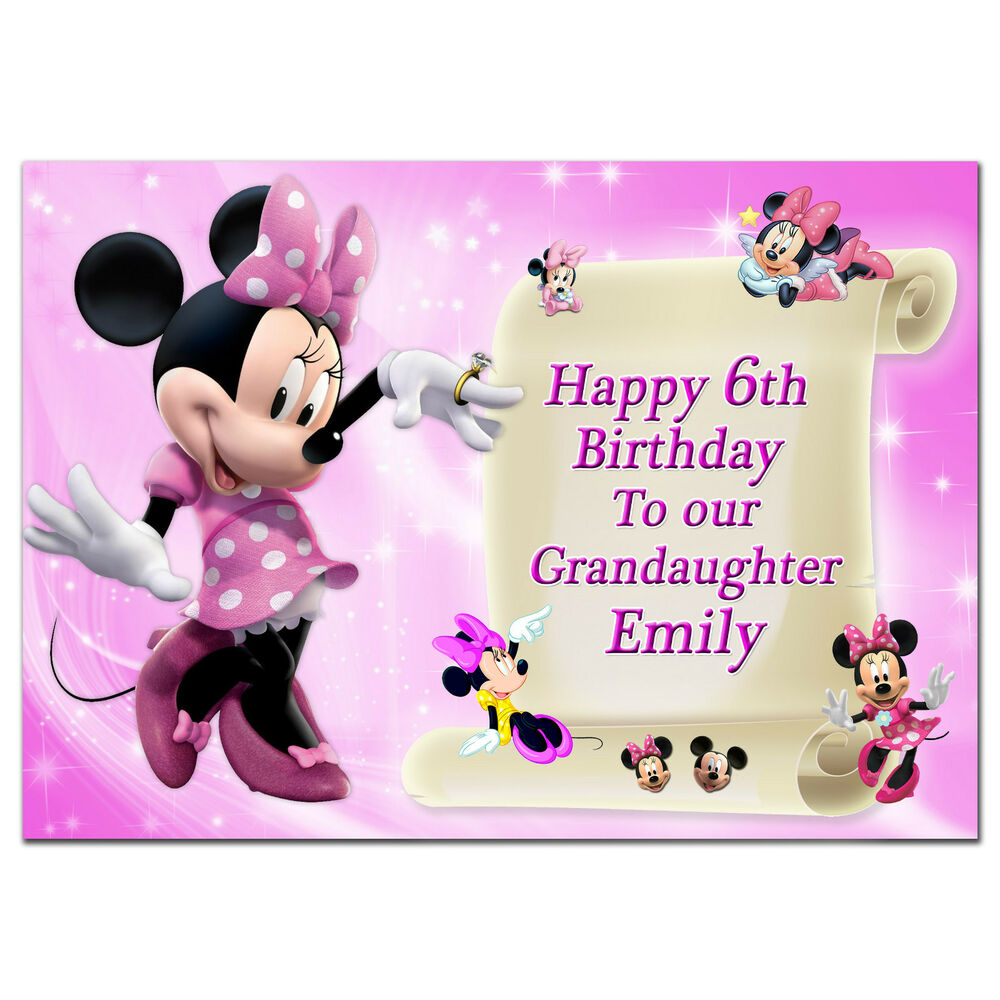 Details About C224 Large Personalised Birthday Card Custom Made For Any Name MinnieMouse Pink