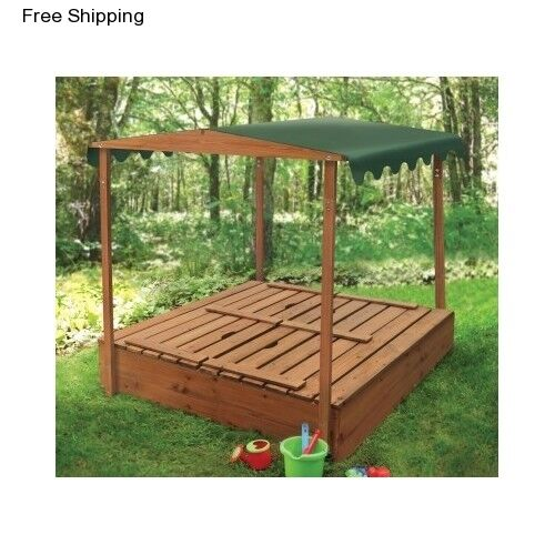 Outside Sandbox Toy Cover Canopy Wooden Bench Kids Sandpit