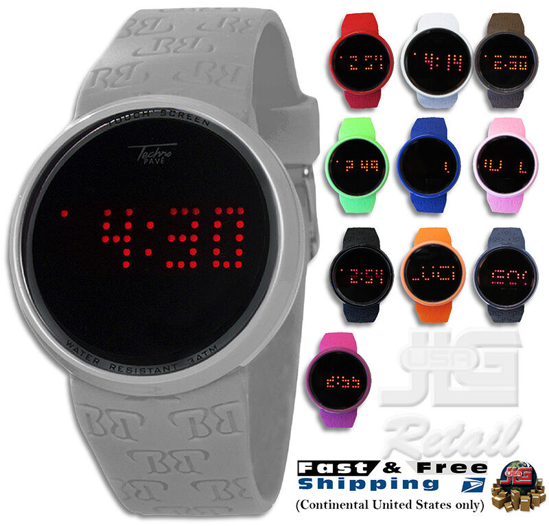 Fashion Round Touch Screen Digital Watch Techno Pave 7287 Led Silicone Band New Ebay