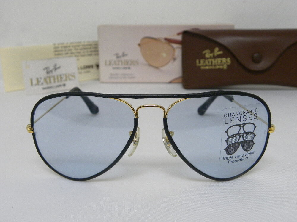 fab1d948d36584 New Vintage B L Ray Ban Large Metal Leathers Gold Black Changeable Blue  L0033   eBay