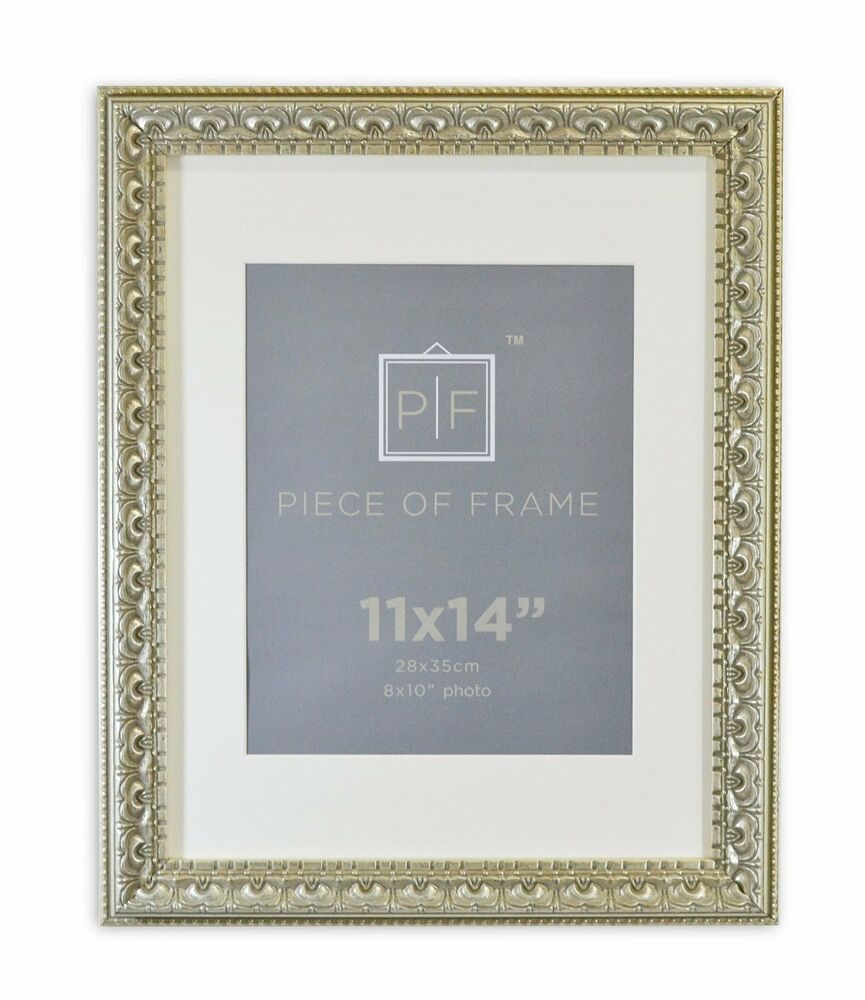 11x14 Ornate Finish Photo Frame Silver Beige Color With