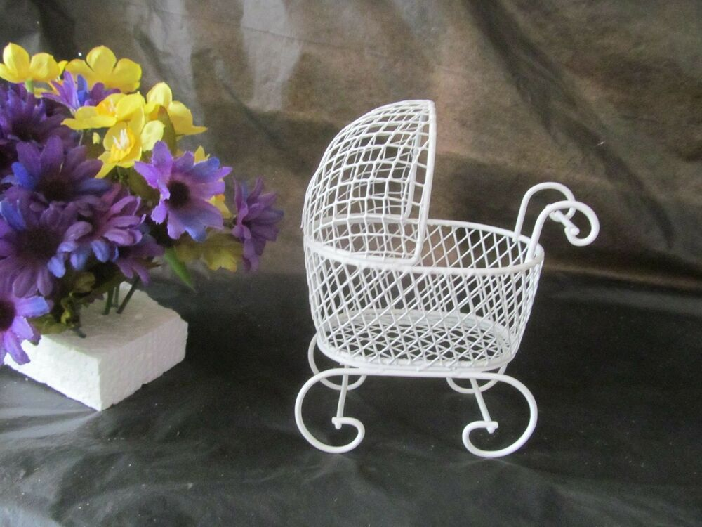 Mini wire baby buggy for shower favors or cake topper