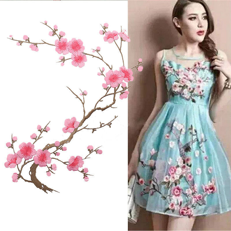 Beautiful Embroidered Plum Blossom Flower Patch Iron/Sew