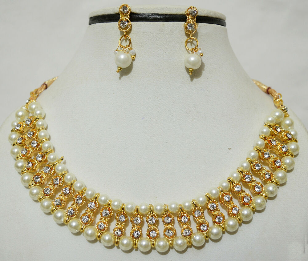 New Necklace Earring Set Gold Polki Jewellery Indian: Indian Bollywood Gold Plated Stones Kundan Necklace
