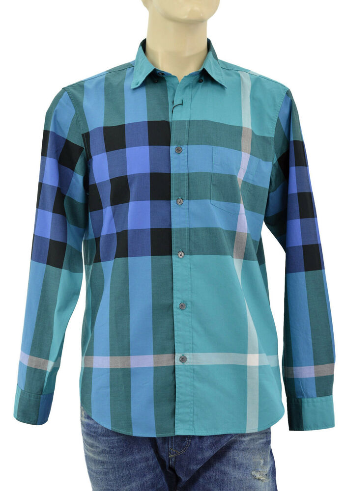 295 burberry brit green blue check plaid casual dress for Blue check dress shirt