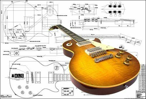 full scale plan of gibson les paul 39 59 electric guitar ebay. Black Bedroom Furniture Sets. Home Design Ideas