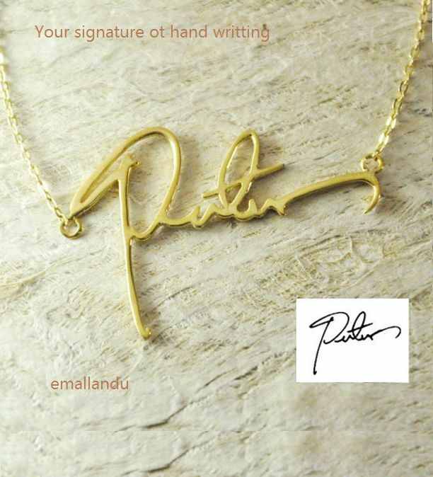 Details about Signature Name Necklace Personalized Custom Handwriting Gold  Plated jewelry Gift 4c10841e3