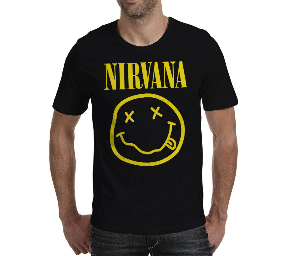 005d02345c4 NIRVANA Smiley Face Black Official Grunge unisex T Shirt band music cool