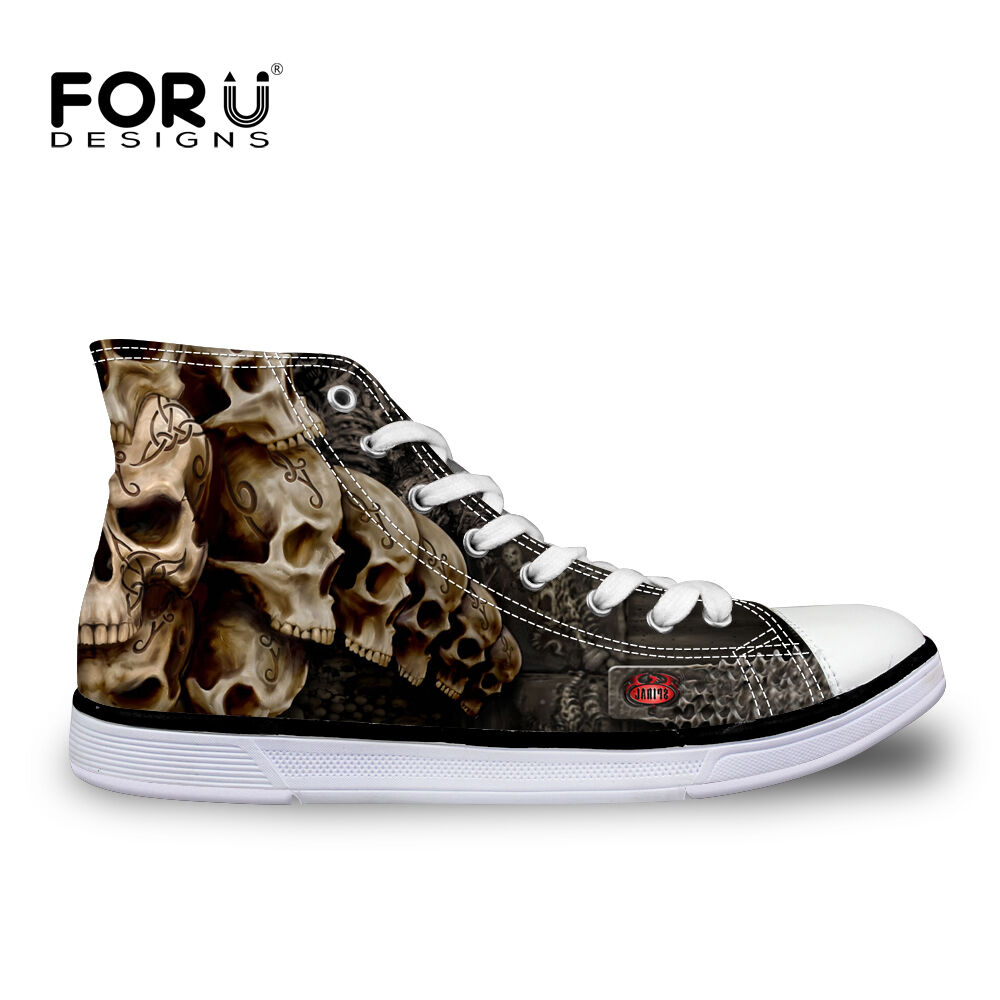 skull style canvas shoes s high top sneakers lace up