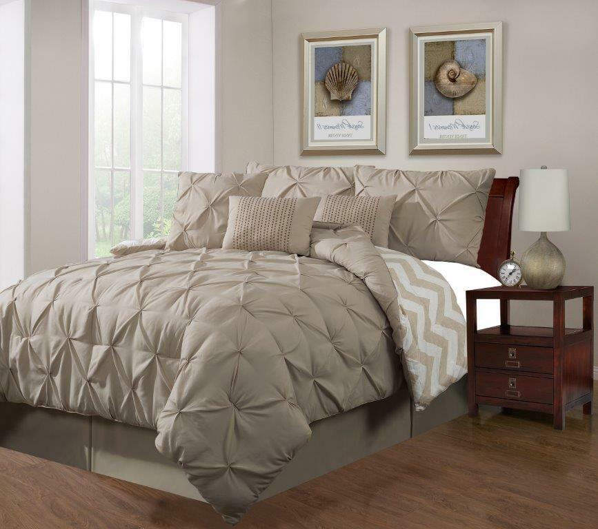 7 Piece Plush Modern Pinch Pleated Taupe Comforter Set For