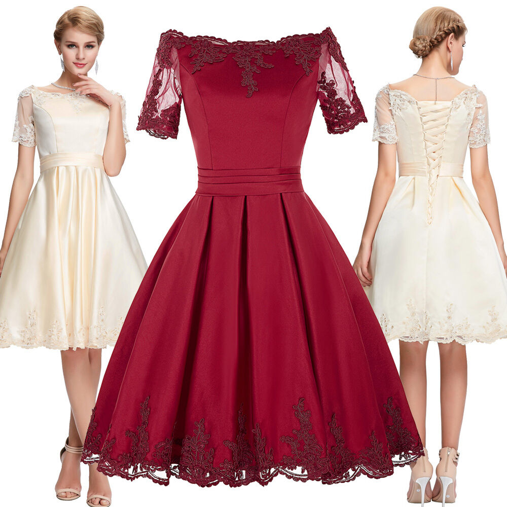 Women vintage 50s burgundy bridesmaid dress evening party for Vintage cocktail wedding dresses