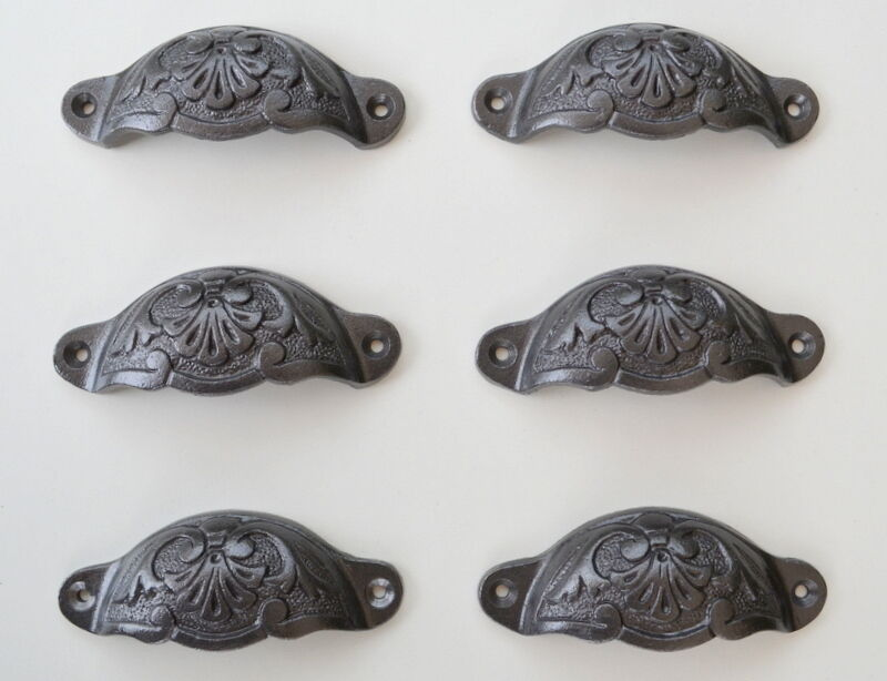 6 X Antique Victorian Decorated Cup Style Cast Iron Chest