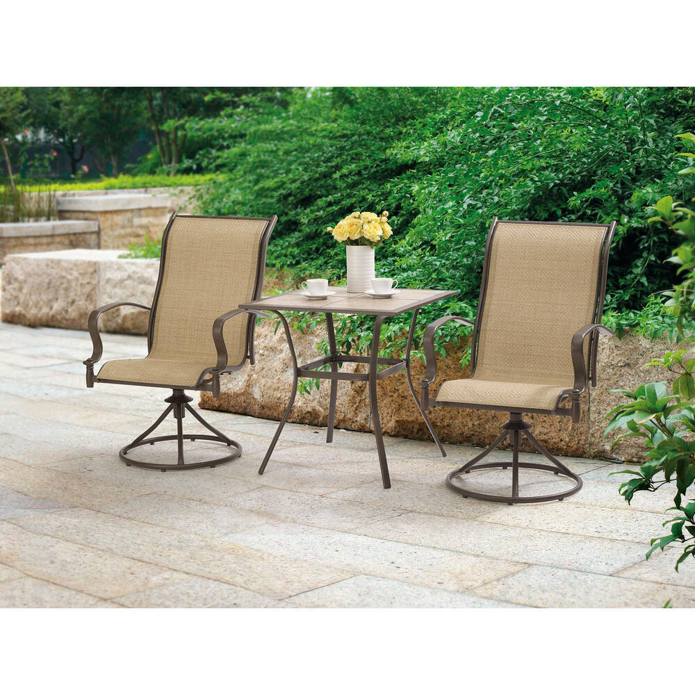 Outdoor 3 Piece Bistro Set Swivel Chairs Table Garden Patio