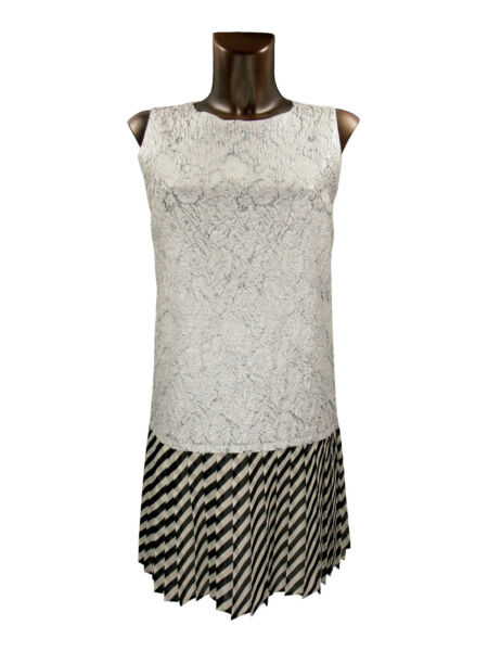 I BLUES vestito abito donna argento bianco nero woman dress silver white black