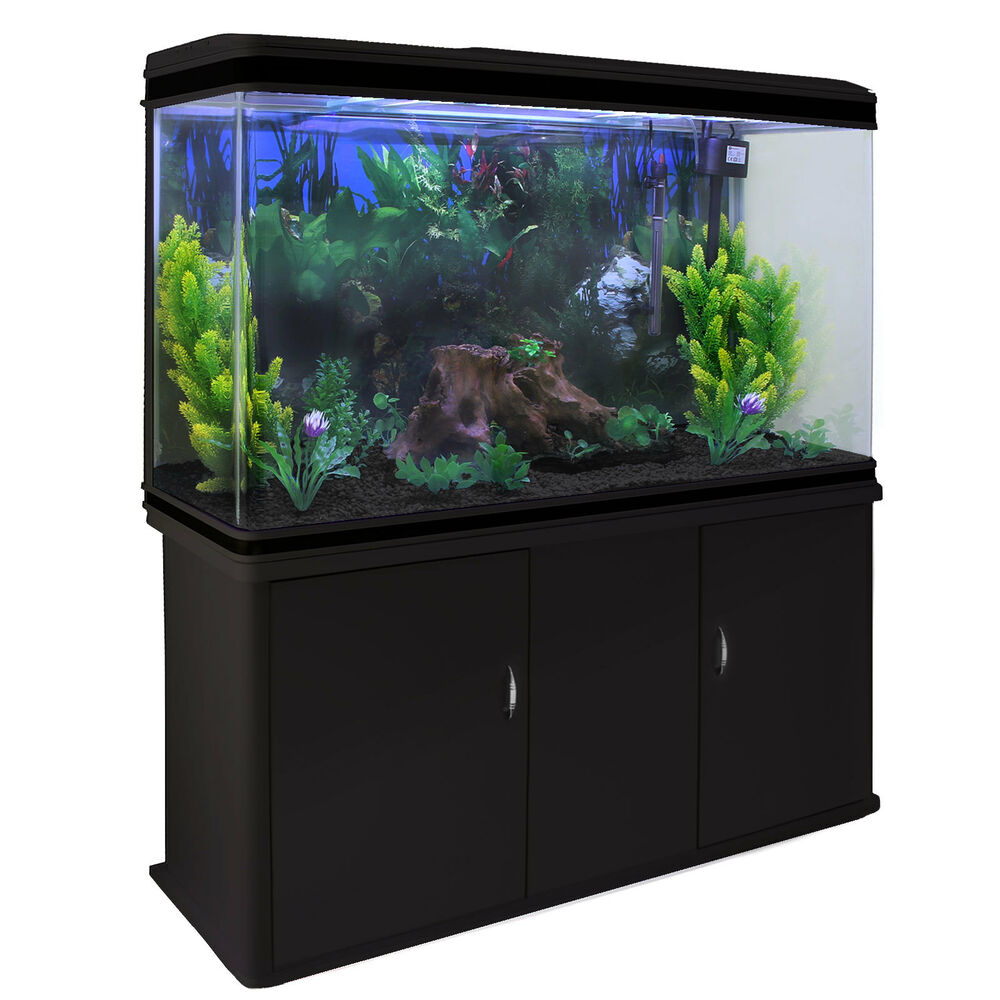 Fish tank aquarium complete set up tropical marine black for Fish tanks for sale ebay