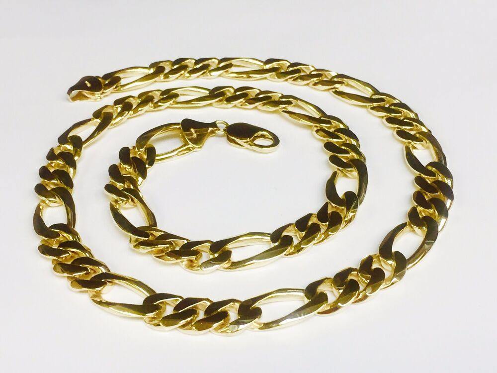 10k solid gold handmade figaro curb link mens chain for 10k gold jewelry