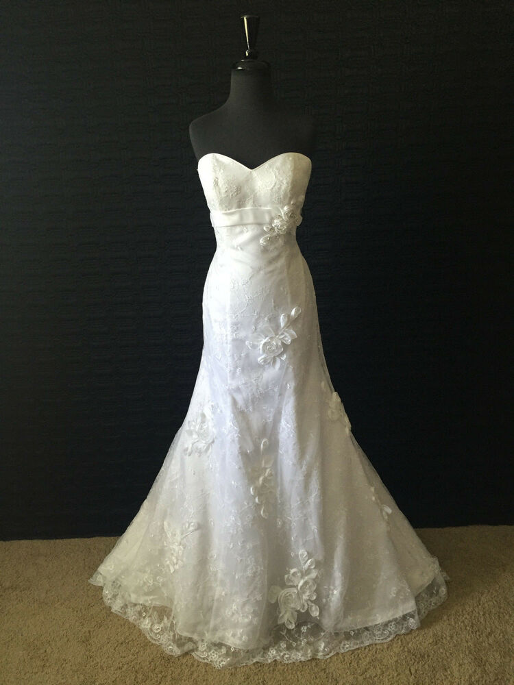 Alfred angelo wedding dress white size 6 2380 ebay for Ebay wedding dresses size 6