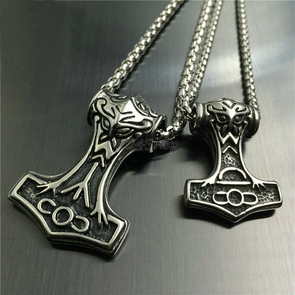 Men vintage mjolnir viking thor 39 s hammer stainless steel for Stainless steel jewelry necklace