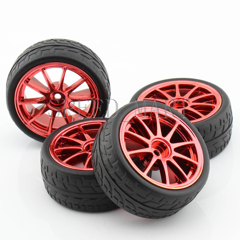 4pcs Red 65mm Rubber Tire For RC Smart Car Model Wheel 1