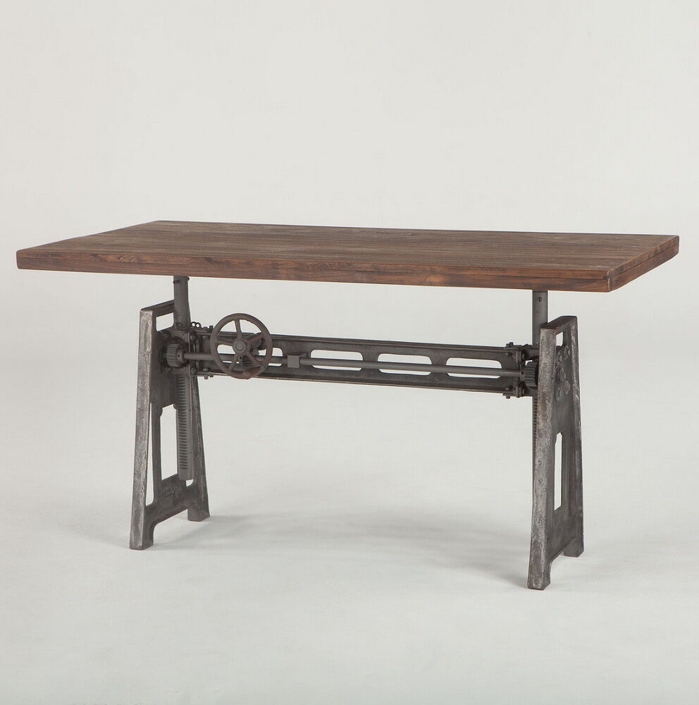 "59"" L Industrial Office Desk With Weathered Top Hand Crank"