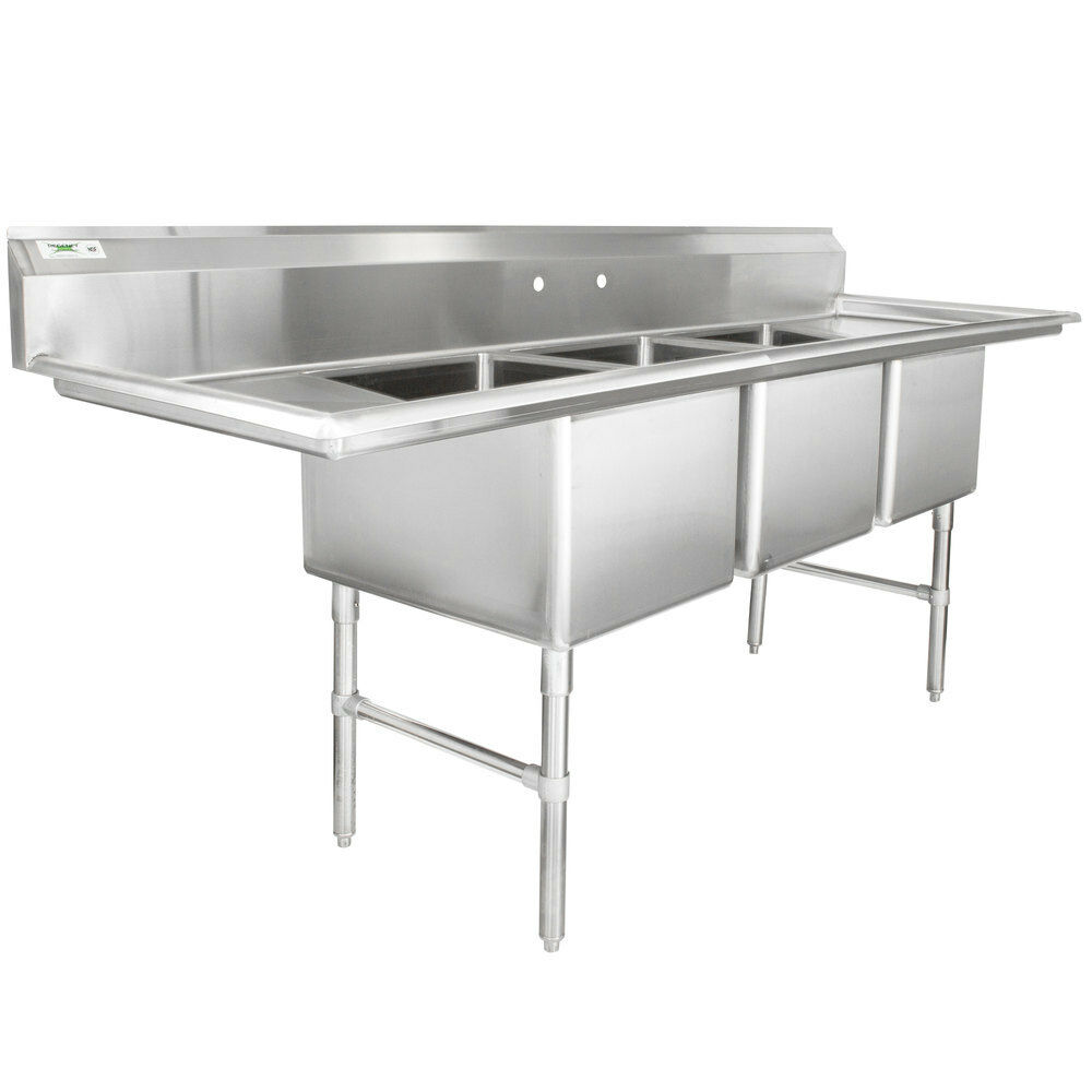 94 Quot Stainless Steel Three Compartment Commercial Sink With