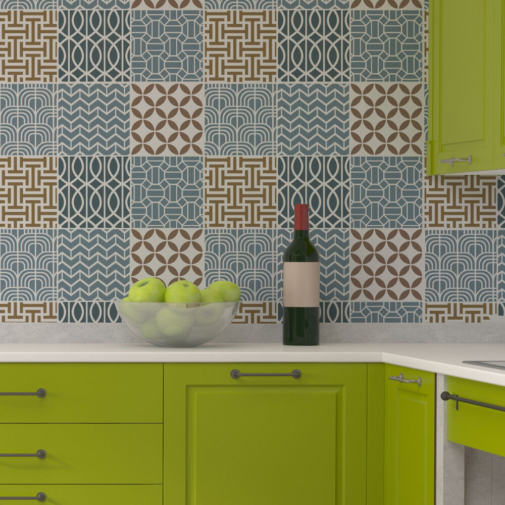 Kitchen Tiles Ebay: Geometric Tile Stencil Set For Wall Decor Kitchen Backsplash Decorating