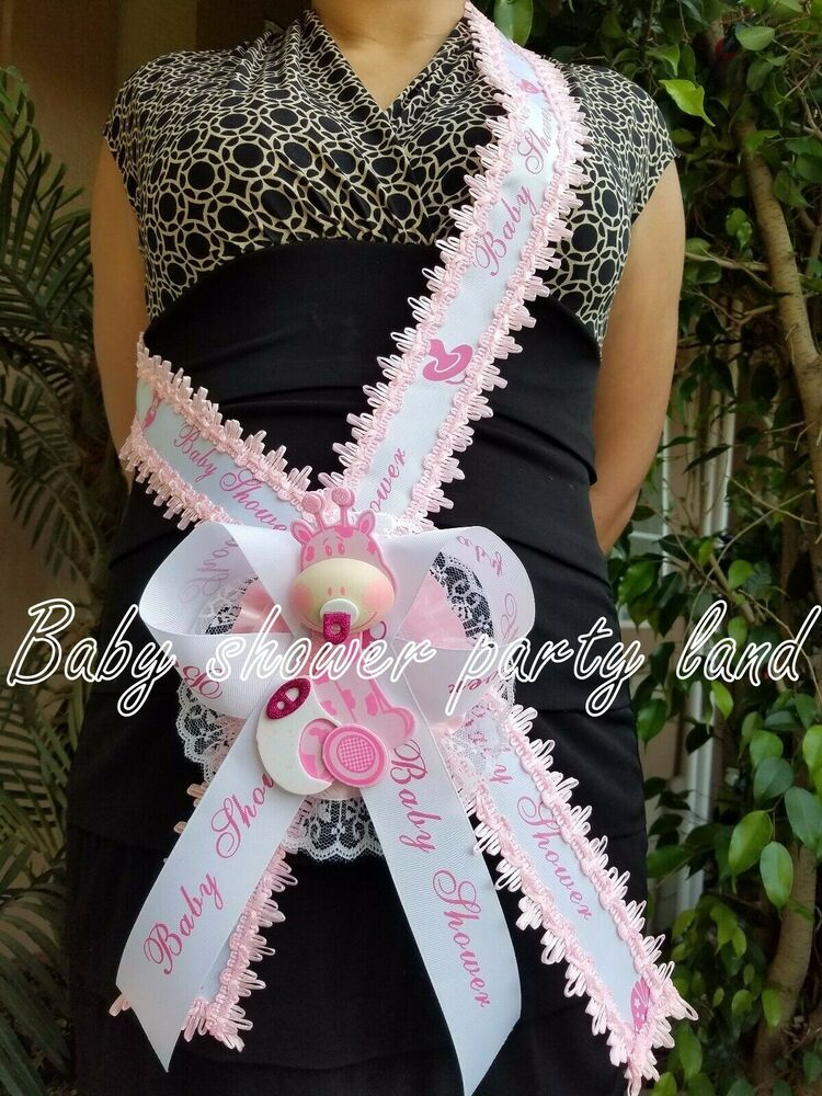 Baby Shower Mom To Be Itu0027s A Girl Giraffe Sash Pink Safari Ribbon Corsage  Noahu0027s