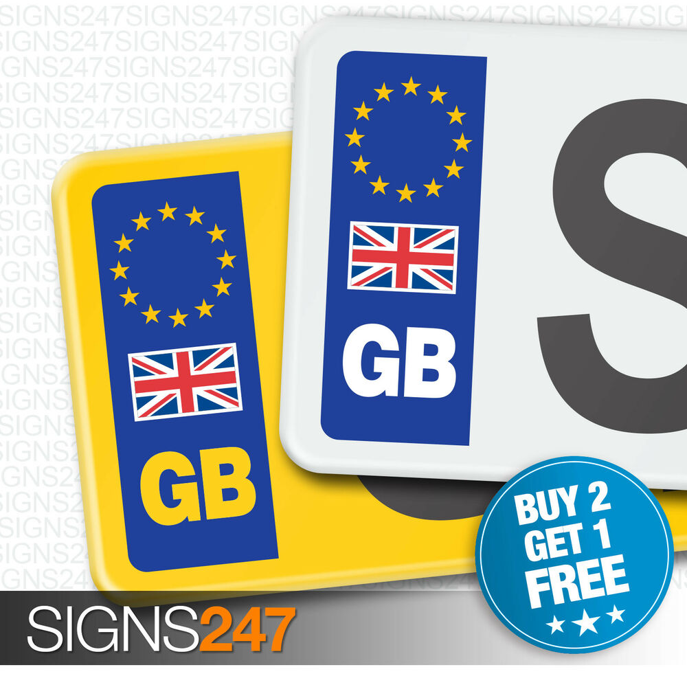 pair gb car number plate stickers with uk flag eu. Black Bedroom Furniture Sets. Home Design Ideas