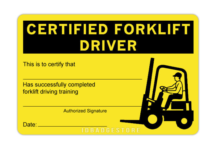 3 pre printed certified forklift driver id card ebay. Black Bedroom Furniture Sets. Home Design Ideas