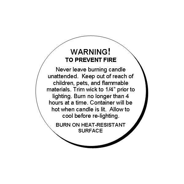 48 Generic Candle Warning Round Glossy Labels Stickers 1.2