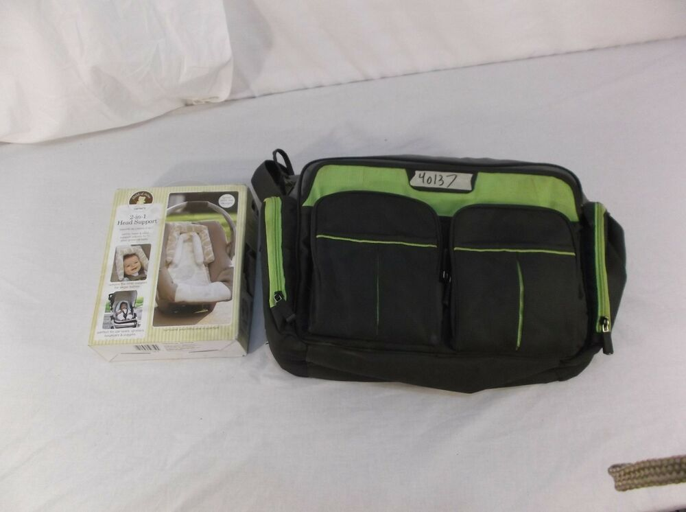 eddie bauer places spaces duffle diaper bag with baby 2 in 1 headrest 40137 ebay. Black Bedroom Furniture Sets. Home Design Ideas