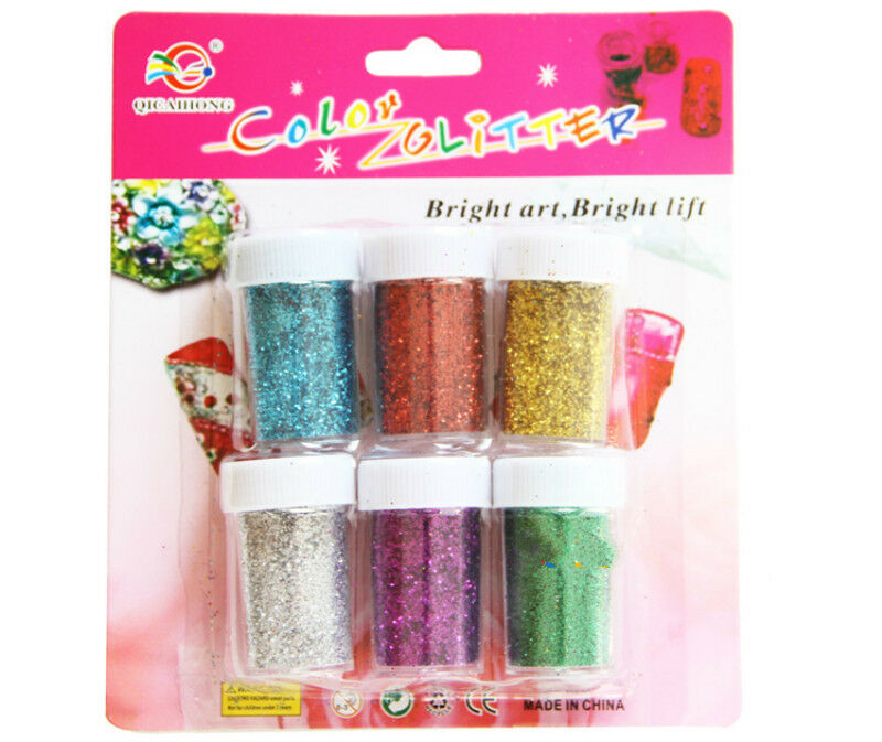 Pack of 6 colors glitter dust powder for nail art tip for Glitter crafts for kids