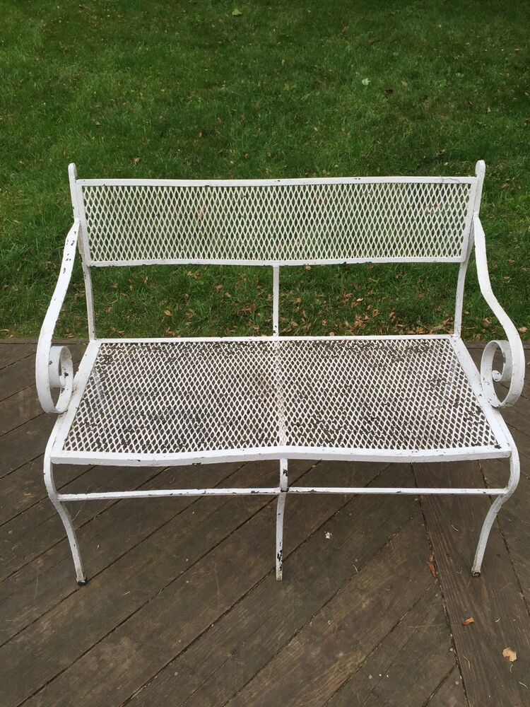 Vintage Mid Century Wrought Iron Mesh Patio Outdoor Arm Bench Loveseat Woodard Ebay