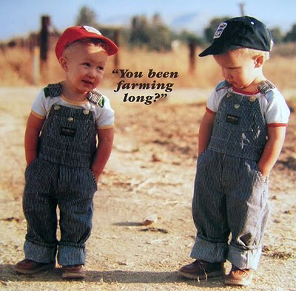 BEEN FARMING LONG TWO YOUNG FARMERS OVERALLS HUMOROUS