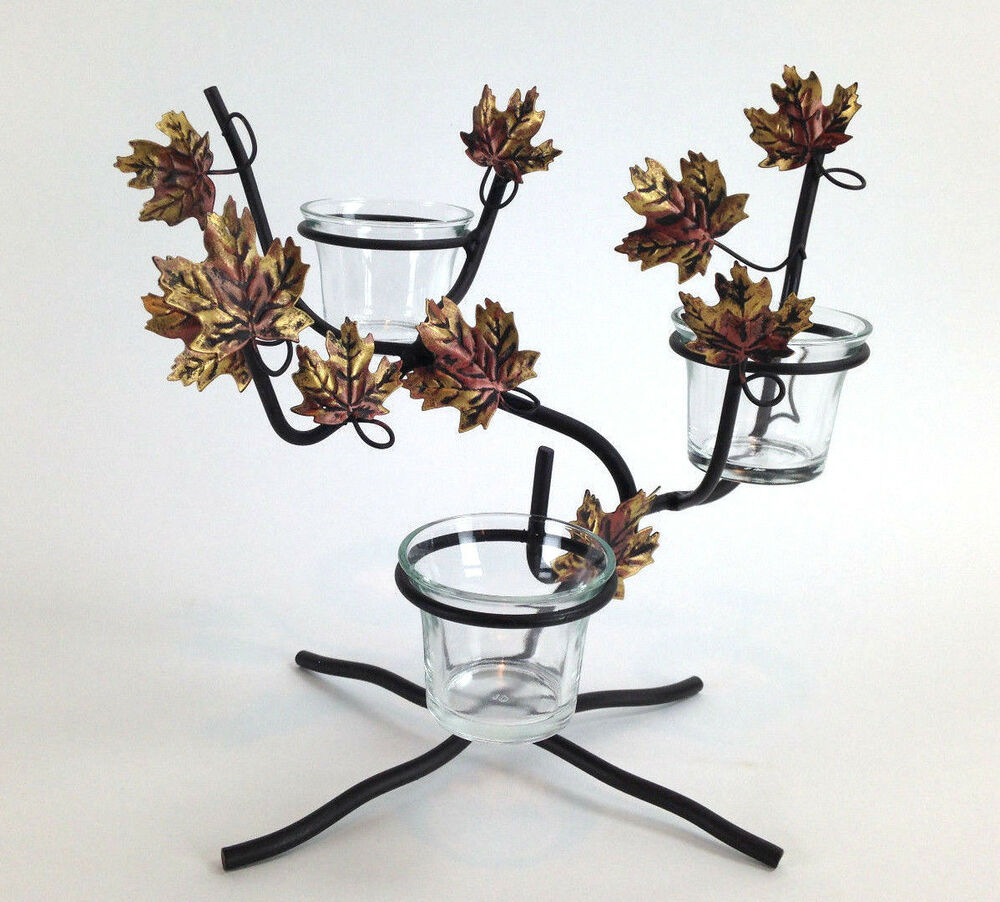 Metal coppertone leaf tree branch tea light candle holder