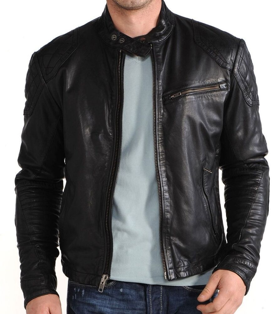 Leather Jacket: New Mens Leather Jacket Black Slim Fit Biker Motorcycle