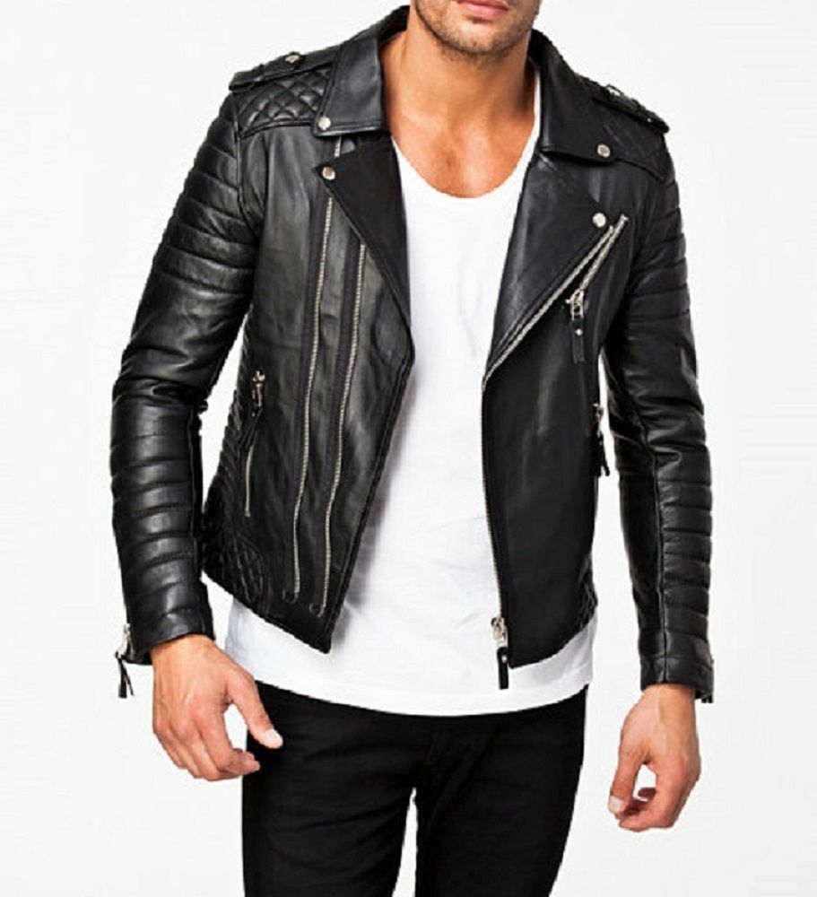 NEW Menu0026#39;s Stylish Motorcycle Slim Fit Genuine Lambskin Leather Biker Jacket M414 | EBay