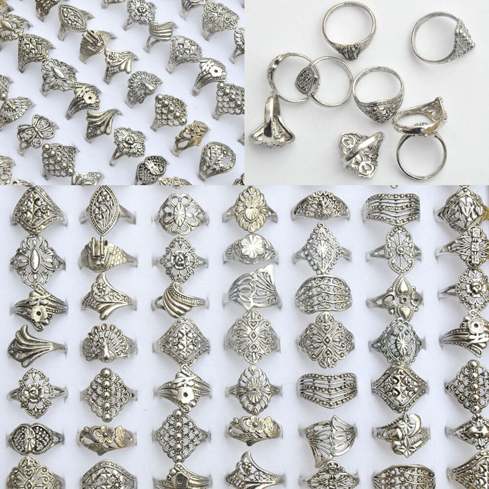 50 100pcs Vintage Tibet Flower Silver Rings Wholesale Mixed Lots Costume Jewelry Ebay
