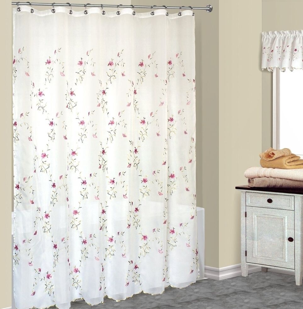 Loretta Fabric Shower Curtain With Embroidered Violet