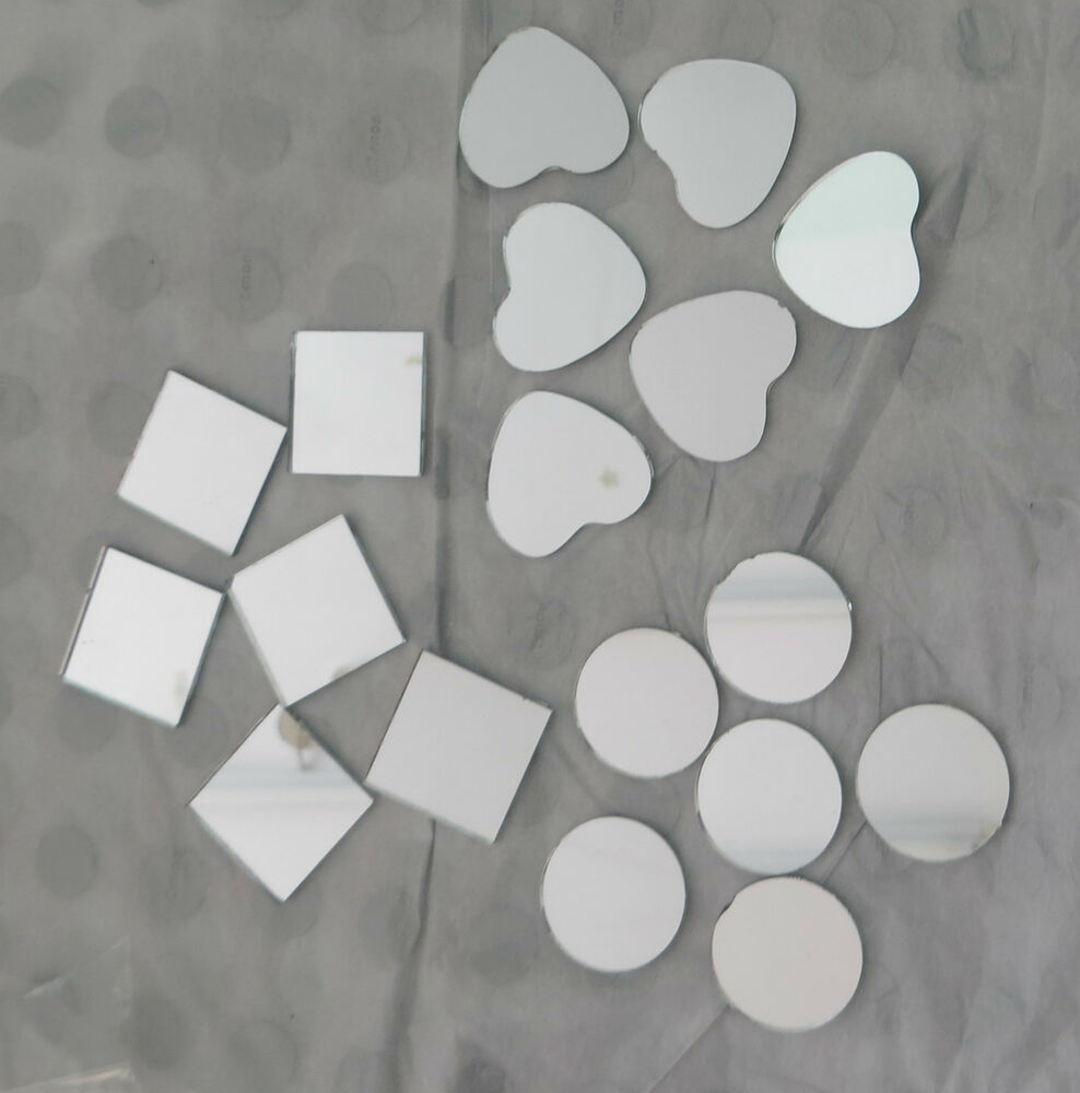 Craft Small Mirror Shapes Tiles 6 Pieces Circles Hearts Squares Mosaic 25mm