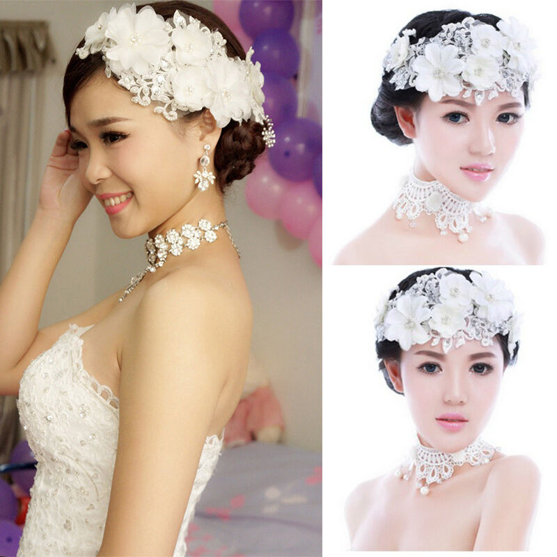 Floral Lace Headpiece For Wedding: Wedding Bride Lace Pearl Headwear Bridal Flower Hair Clip