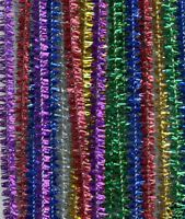 100 Chenille Craft Stems Tinsel Pipe Cleaners CHRISTMAS Asst Colours 30cm x 6mm