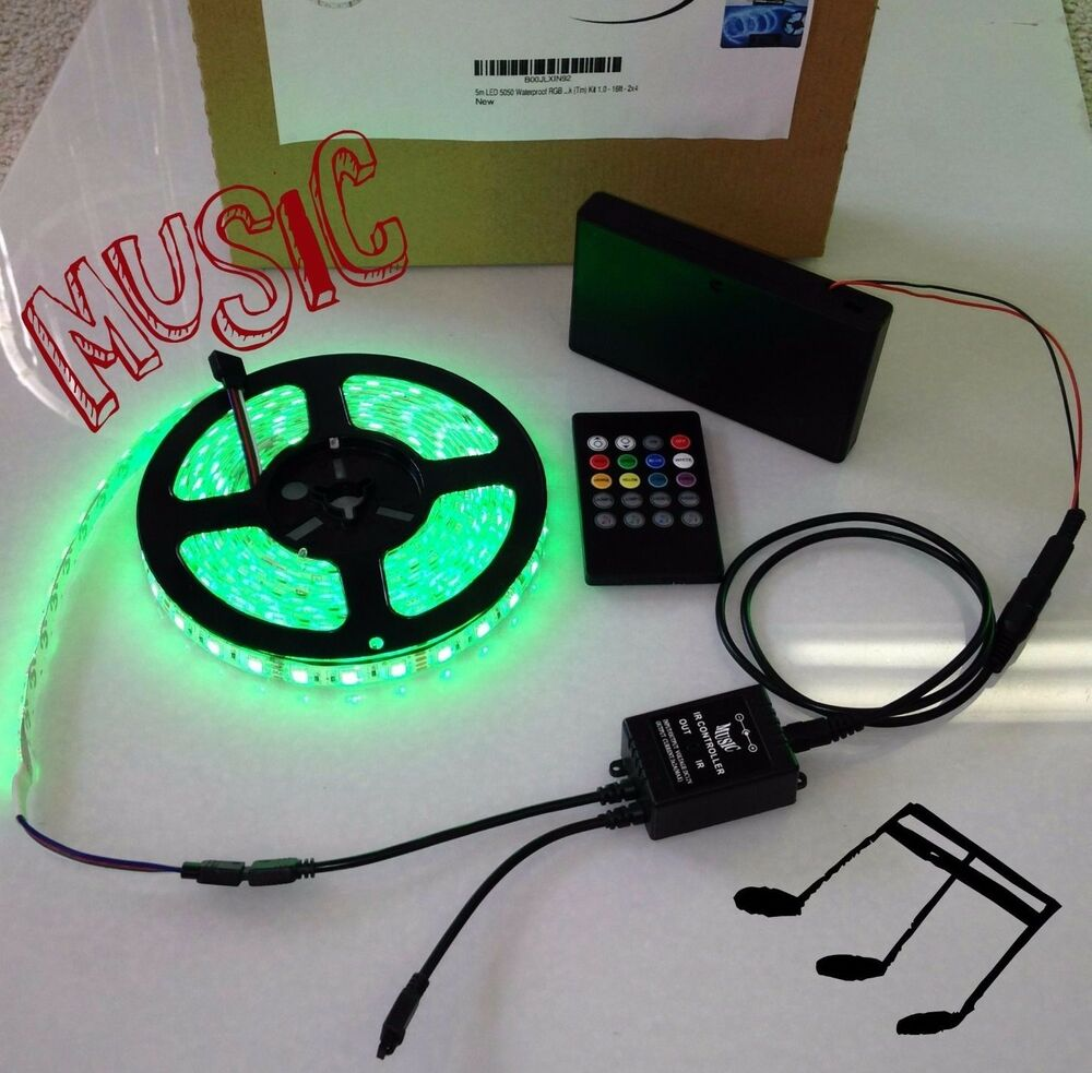 battery powered music controlled 5050 rgb led strip light. Black Bedroom Furniture Sets. Home Design Ideas