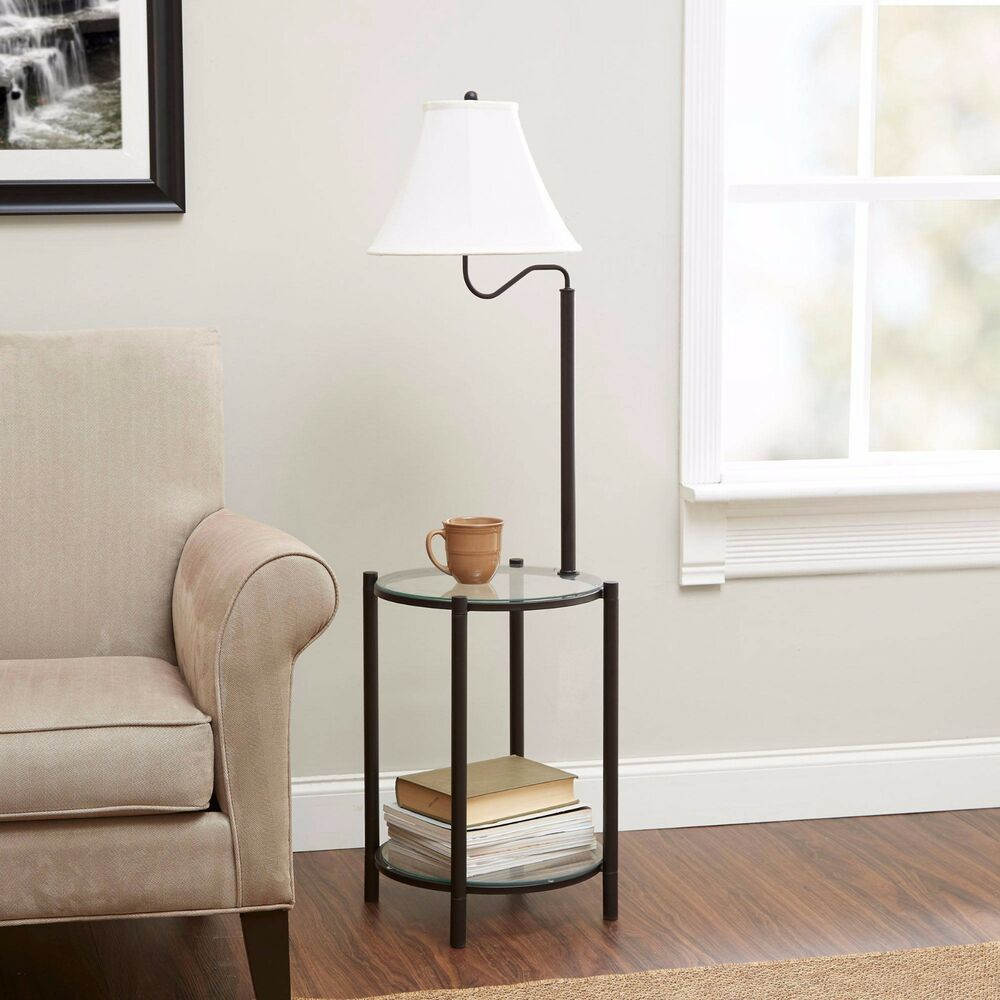 54 Glass End Table NEW Combo With Built In 3 Way Floor