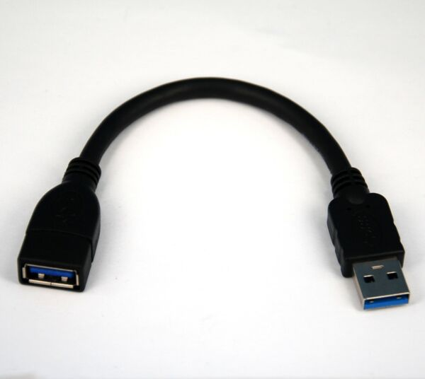 4-inch 10cm SHORT SuperSpeed USB 3.0 Type A Male to Female BLACK Extension Cable